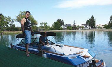 Water Skier at Bell Acqua Lake dock